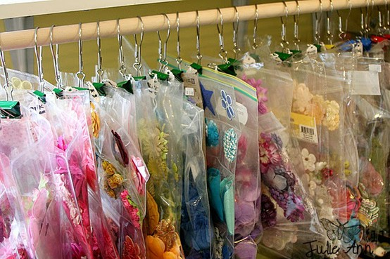 Organize Crafts with Shower Hooks