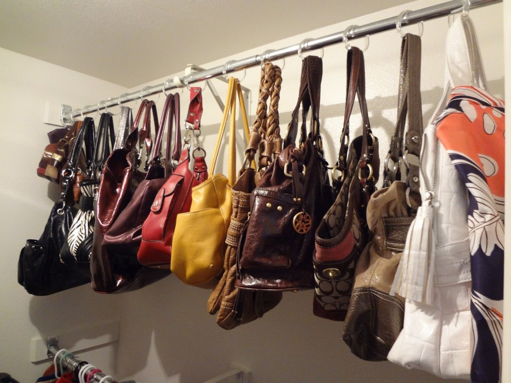 7 ways to organize your home using shower curtain hooks for Hooks to hang purses