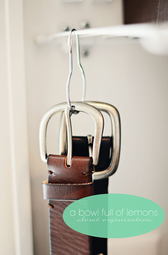 Organize Belts with Shower Hooks