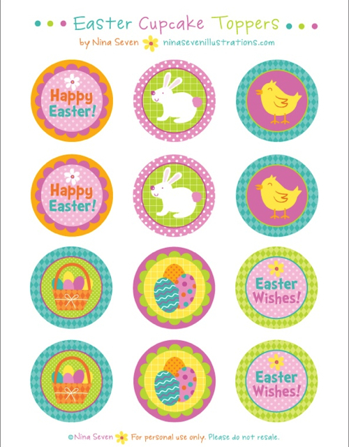 Free Printable Cupcake Toppers for Easter