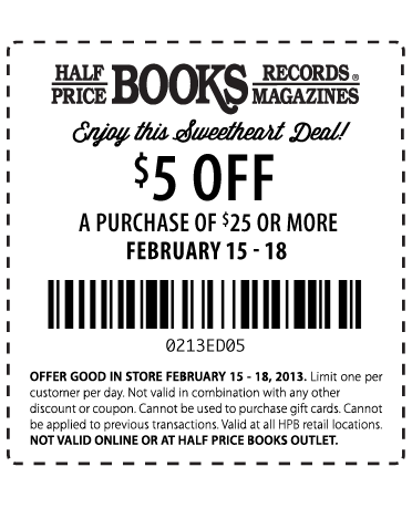 Coupon codes for half price books