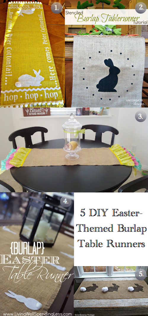 Easter-Themed Burlap Table Runners