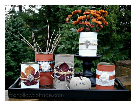 Tin Can Repurpose For Decoration Fall