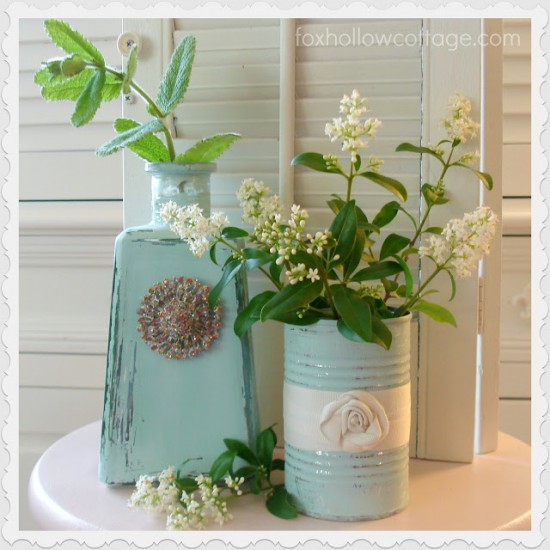 Repurpose Tin Can & Tequila Bottle As Decor