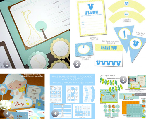 5 free printable baby shower party kits in blue the frugal female. Black Bedroom Furniture Sets. Home Design Ideas