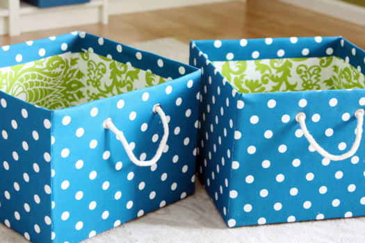 Diy fabric bins the frugal female for Fabric covered boxes craft