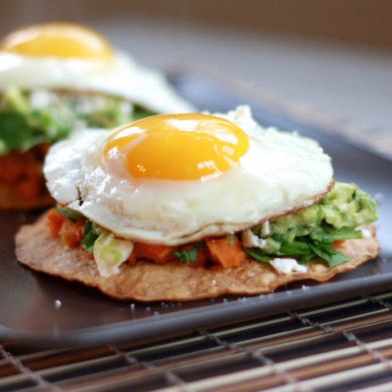 Guacamole Tostadas With Sweet Potatoes and a Fried Egg