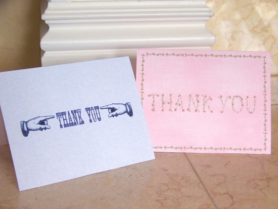 thank you cards in blue and pink