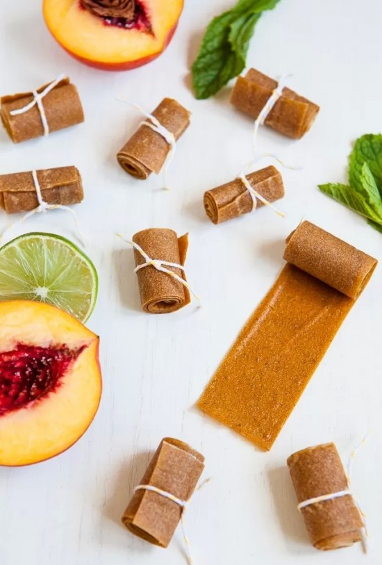 Peach Lime Mint Fruit Leather