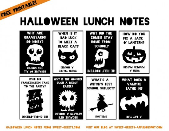 Halloween Joke Lunch Notes